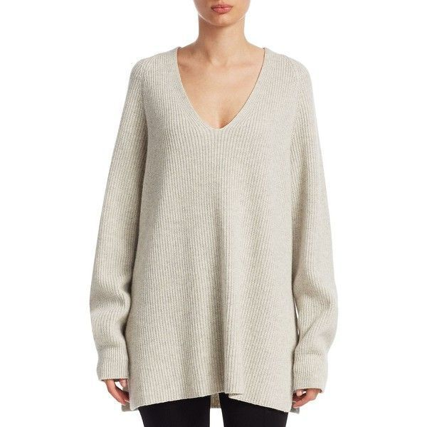 0634cd06cafe3 The Row Arabelle Cashmere-Silk Sweater featuring polyvore women's fashion  clothing tops sweaters white top cashmere v-neck sweater white v neck  sweater ...