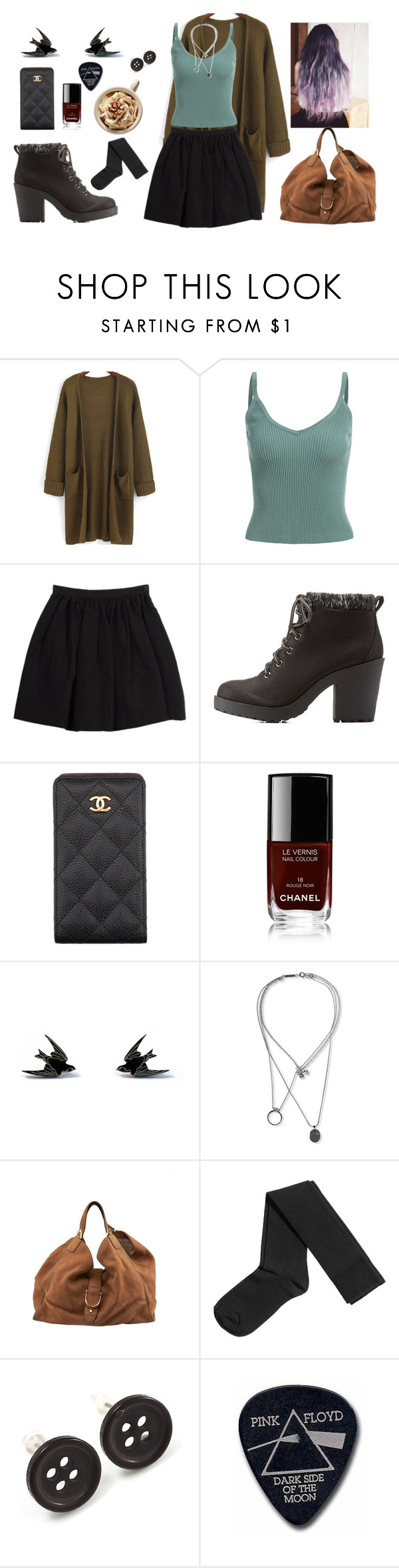 """""""Untitled #465"""" by athinakts on Polyvore featuring Charles Anastase, Charlotte Russe, Chanel, Wolf & Moon, Maison Margiela, Gucci, H&M, Avalaya and Floyd"""