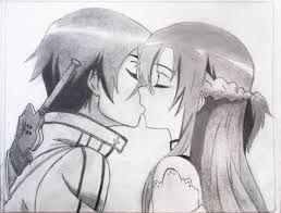 Imagenes De Amor Con Frases Para Pintar A Lapiz Kirito Asuna In