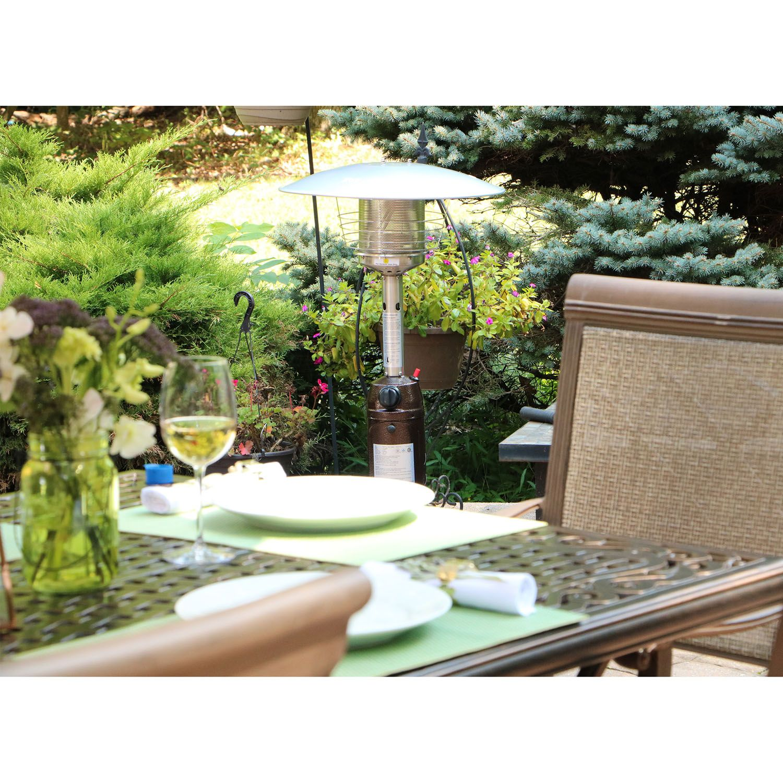 Hanover Mini Umbrella Tabletop Propane Patio Heater In Hammered Bronze    HAN0204HB