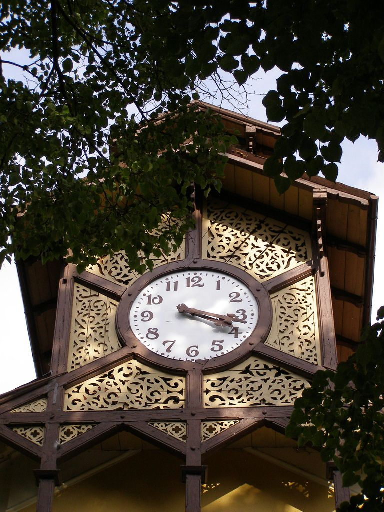 Zegar   by magro_kr Clock at the building of the Old Mineral Baths, Nowotarskiego str., Krynica-Zdrój