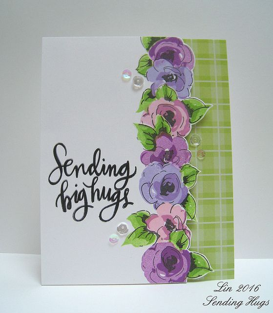 handmade greeting card ... stamped border of flowers on ...