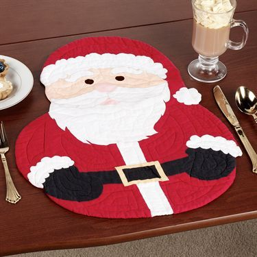 Santa Shaped Quilted Placemat Set of 4