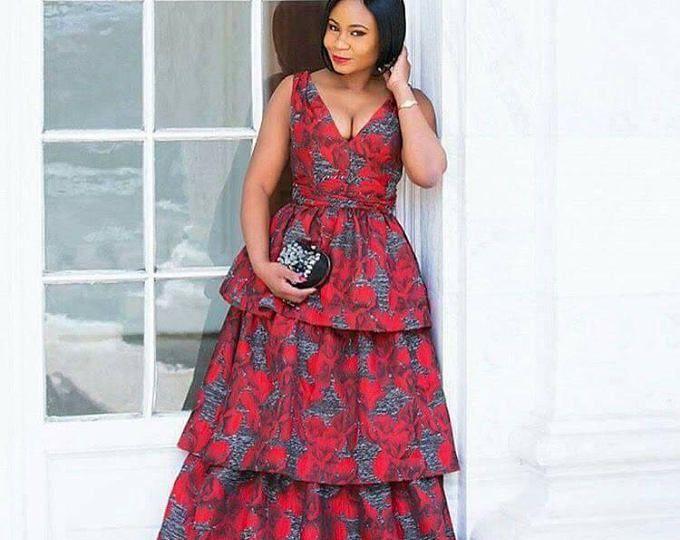 Rouge Tissu Imprimé Africain Africaine Robe Vêtements