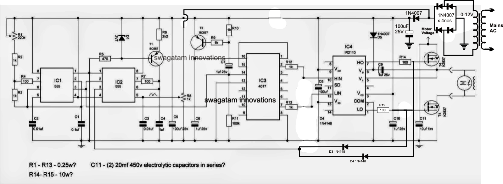 The post explains a simple variable frequency drive or VFD circuit ...