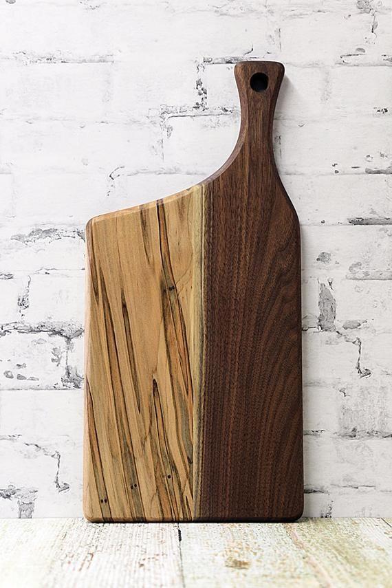 Offset Handle Walnut Ambrosia Maple Wooden Cutting Board