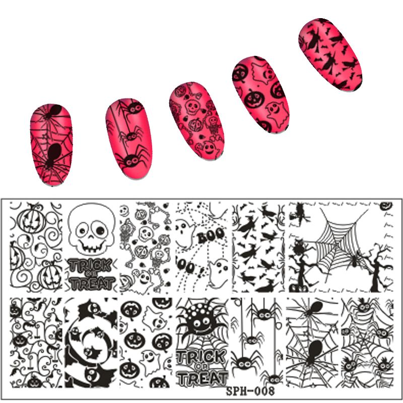 New Arrival ChristmasHalloween Pattern Nail Stamping Plates Image Konad Art Manicure Template Stamp