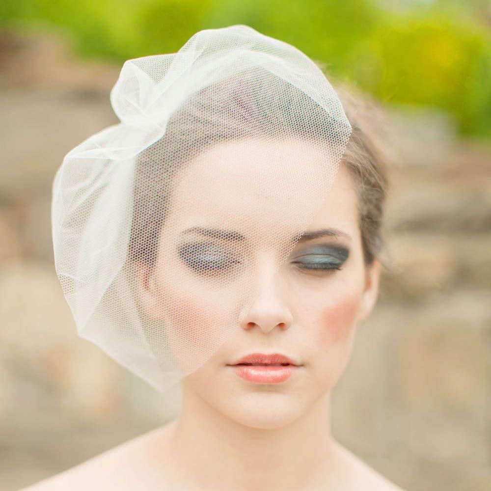 rustic blusher simple handmade birdcage veil bridal hair accessory