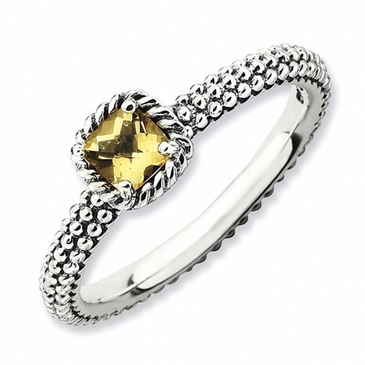 Zales Stackable Expressions Citrine and Diamond Accent Ring in Sterling Silver WlK1XI4