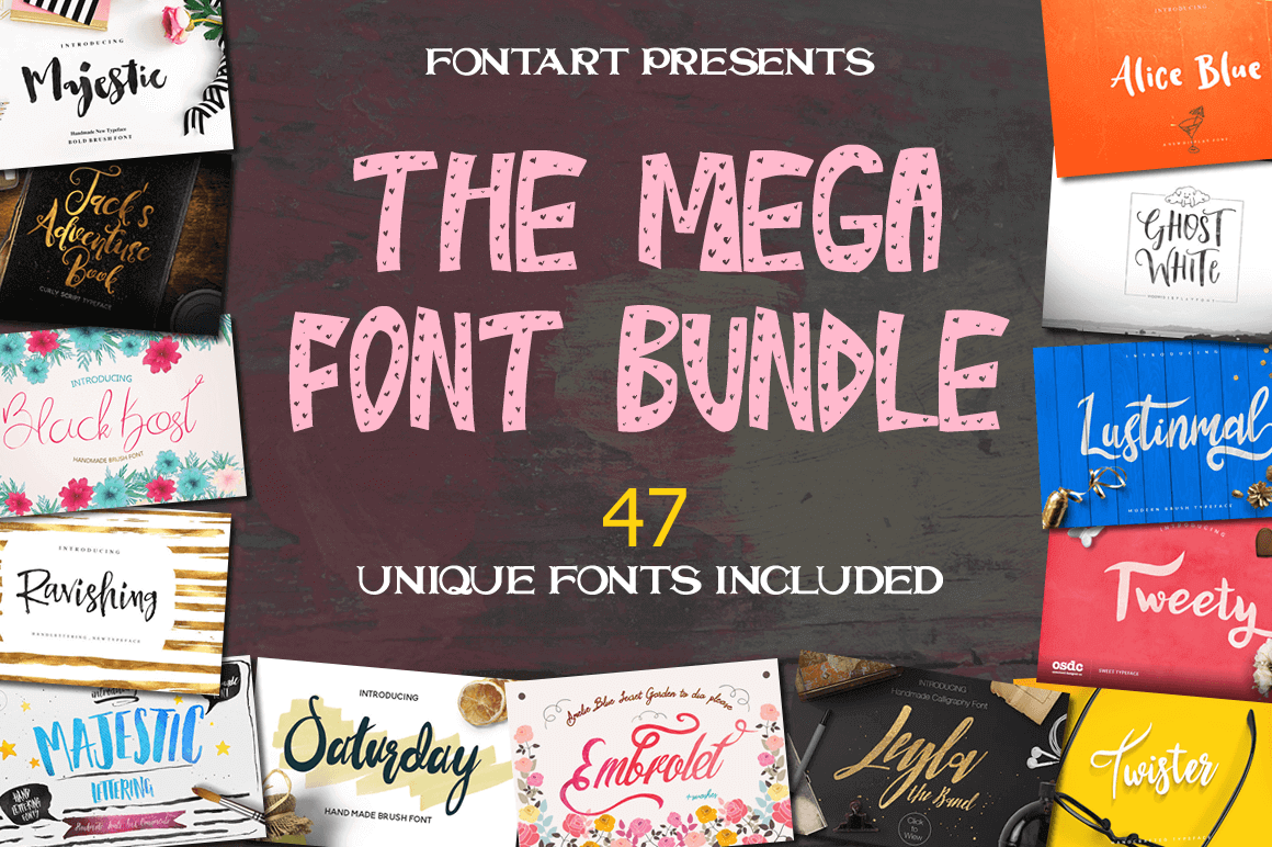 47 Professional Handcrafted Fonts from FontArt - only $24!