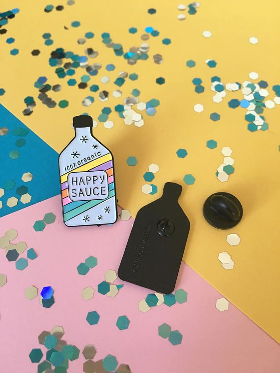 Happy Sauce   Soft Enamel Pin By HibouDesigns   Happy Pin, Happy Sauce,  Awesome