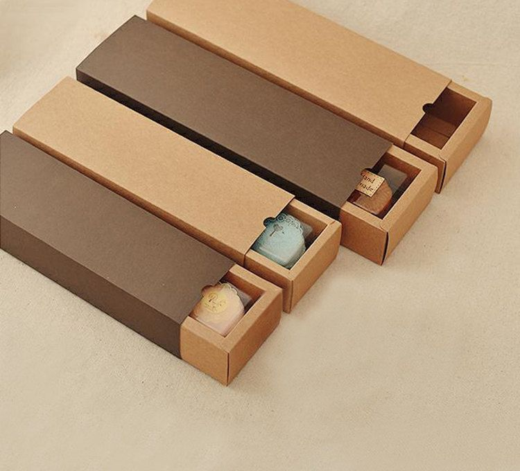 10 Long Kraft Paper Drawer Boxes Macarons Cookies Soaps Outer Case Gift Sets Packaging Weddi Gift Set Packaging Kraft Packaging Packaging Template Design