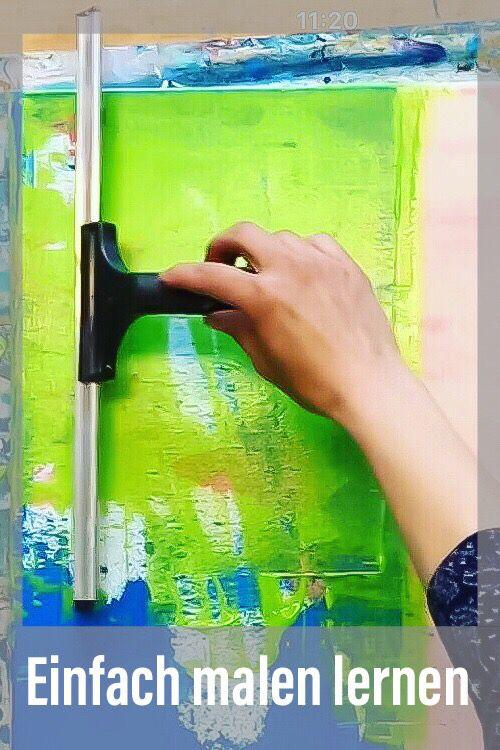 Ganz leicht malen lernen und mit Werkzeugen, die du Zuhause hast. Abstrakte Leinwandbilder selbstgemacht, hier eine Anleitung #leinwandbilder #abstractpainting