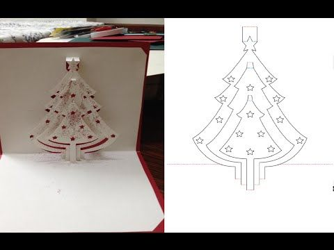 Snowman and christmas tree pop up card kirigami tutorial for Kirigami christmas card