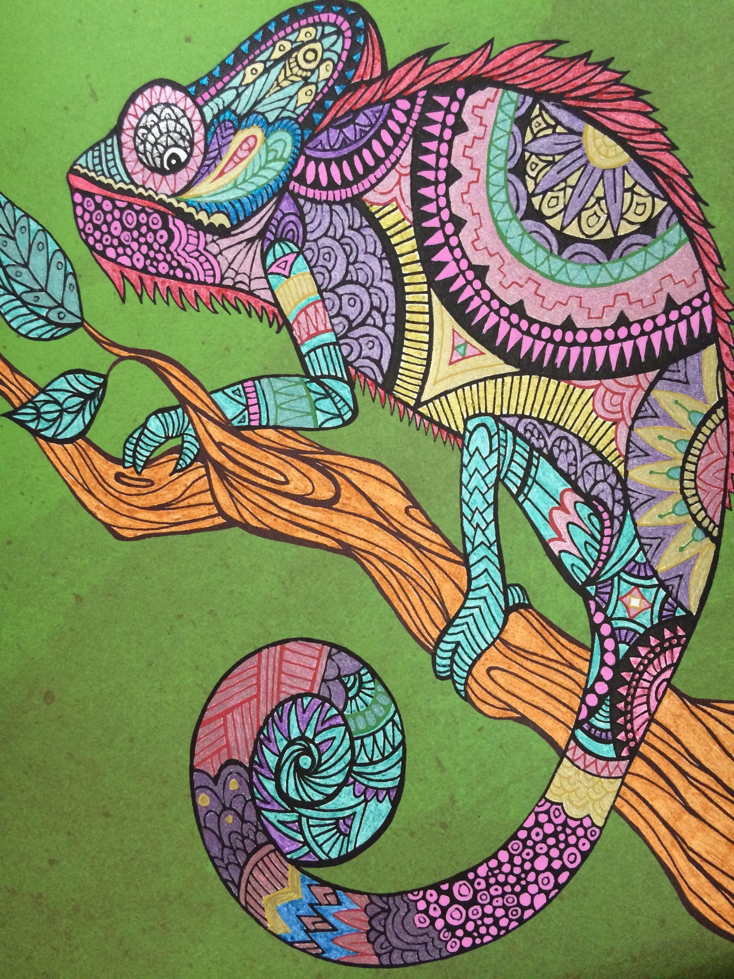 El Camaleon En 2019 Dibujos Puntillismo Y Pintar