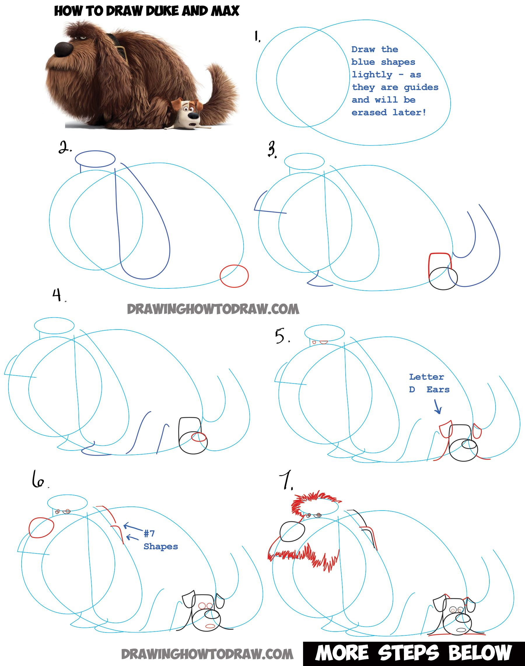 Learn How To Draw Duke Sitting On Max From The Secret Life Of Pets  Step