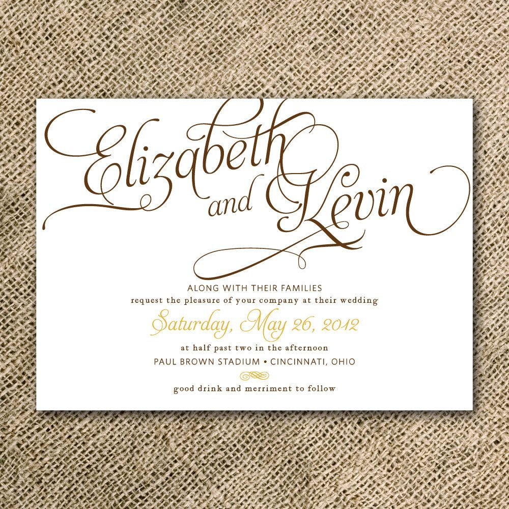 Calligraphy Wedding Invitation Suite Printable - Rustic Wedding ...