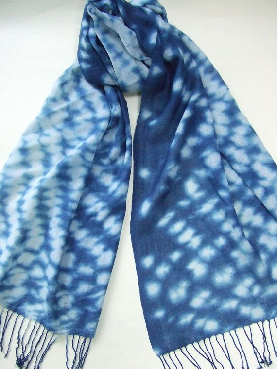 Lovely Hand dyed indigo scarf, Japanese indigo, shibori, wool and silk  IH67