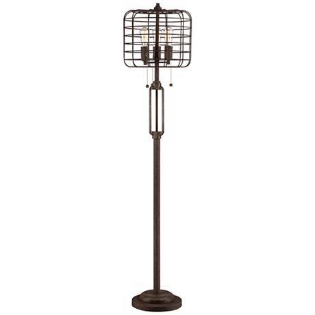 Industrial Cage Bronze Floor Lamp With Edison Led Bulbs W7387 Lamps Plus Bronze Floor