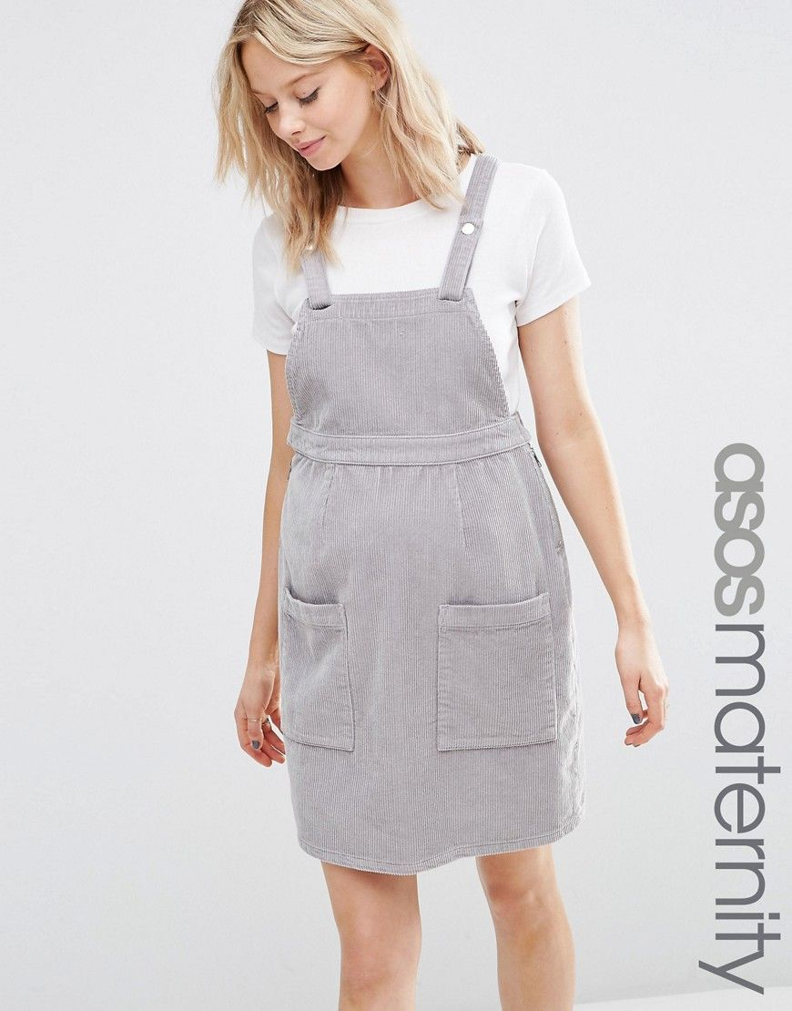 e69d07994dc Image 1 of ASOS Maternity Pinafore Dress in Dove Grey