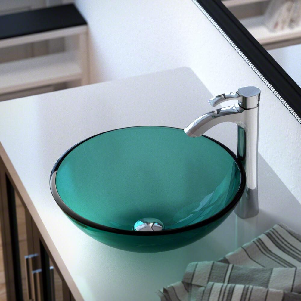 Mr Direct Glass Vessel Sink In Emerald With 726 Faucet And Pop Up