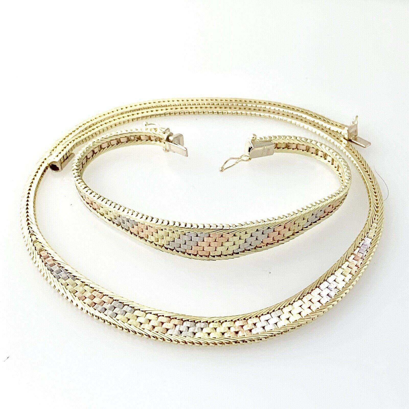 Basket Weave Necklace Bracelet Set 3 Tone 14k Solid Gold