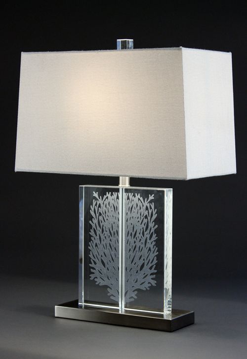 Elegant Upscale Tall Coastal Lamp Created In Clear Crystal With A Delicately Etched Coral Design And Satin Nickel Finish Metal Base