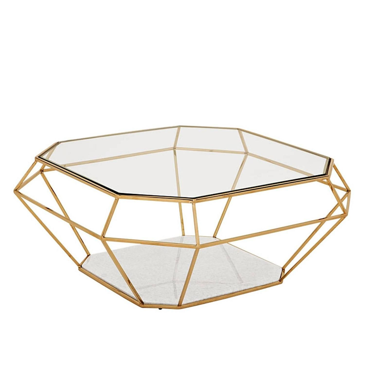 Diamond Coffee Table In Gold Finish With White Marble Gold Coffee Table Glass Coffee Table Art Deco Coffee Table [ 1500 x 1500 Pixel ]