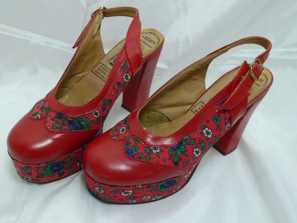 Plateau Sandalen Schuhe florales Muster 70er Jahre Vintage
