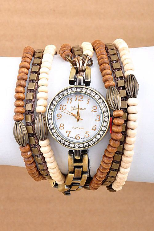 Pre-order Beaded Wrap Around Watch- Ivory (pre-order ends 11/2)