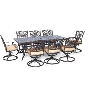 Hanover Traditions 9 Piece Rectangular Patio Dining Set With Eight Swivel Chairs And Natural Oat Cushions Traddn9pcsw 8 At The Home Depot Mobile
