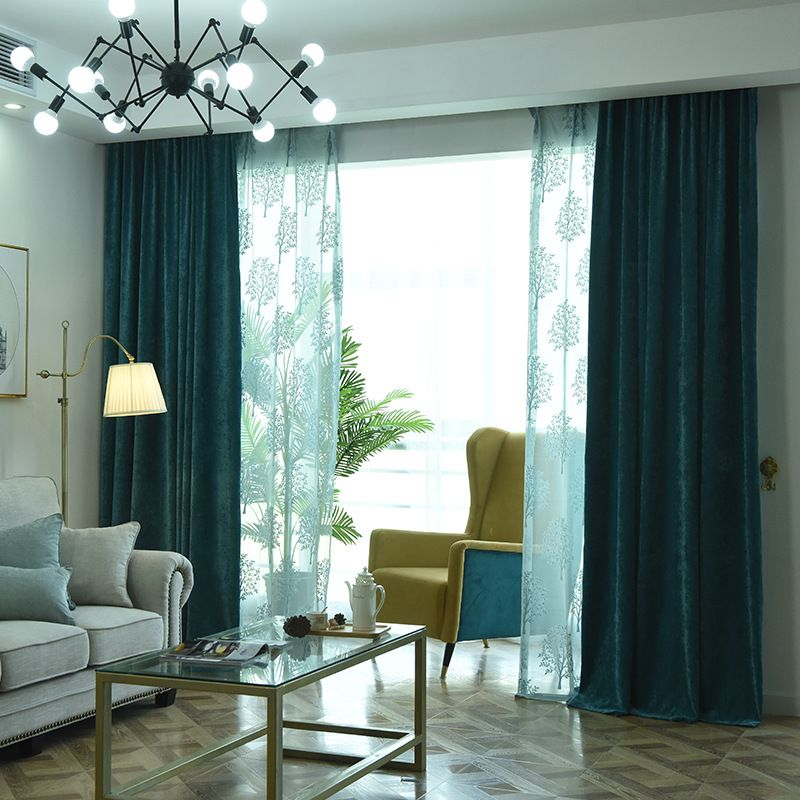 Pea Blue Emerald Green Thick Blackout Curtains Sheer For