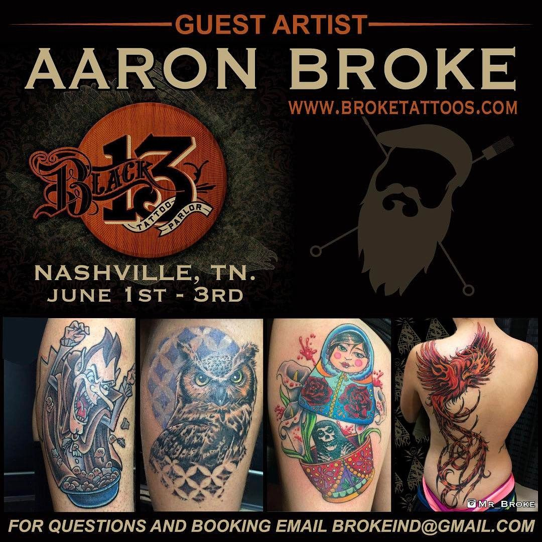 Don't forget I'll be joining @black13tattoo June 1st thru June 3rd for one fun weekend of tattooing! Still have spaces left to fill so contact me for an appointment. Brokeind@gmail.com #broketattoos #black13tattoo #viciousinktattoos #tattoo #nashville #tennessee