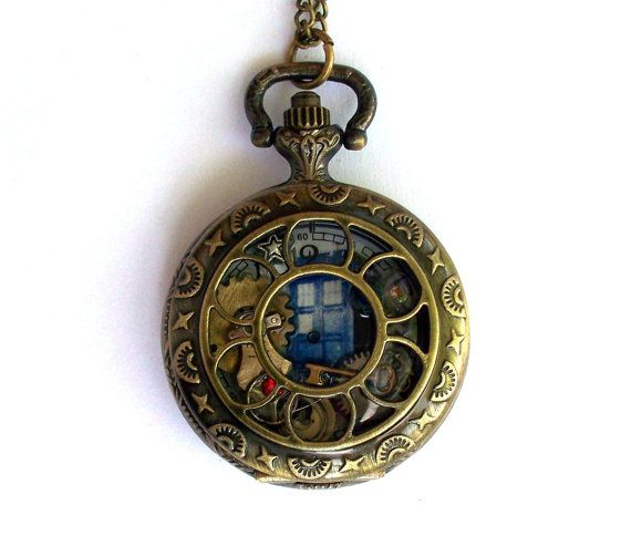 "Doctor Who Small Pocket Watch Necklace ""In Good Time"" by TimeMachineJewelry"