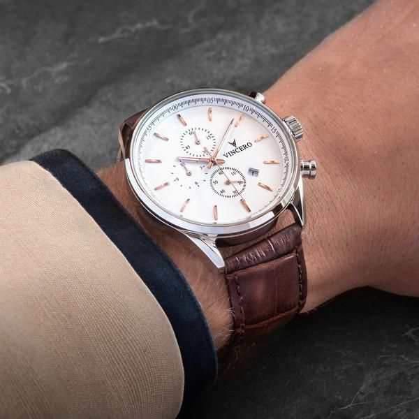 4ce4b18bdd4 Men s Luxury Chrono S Chronograph Watch Mocha Brown Croc Italian Leather  Strap Band White Watch Face Silver Case Clasp Rose Gold Watch Hands