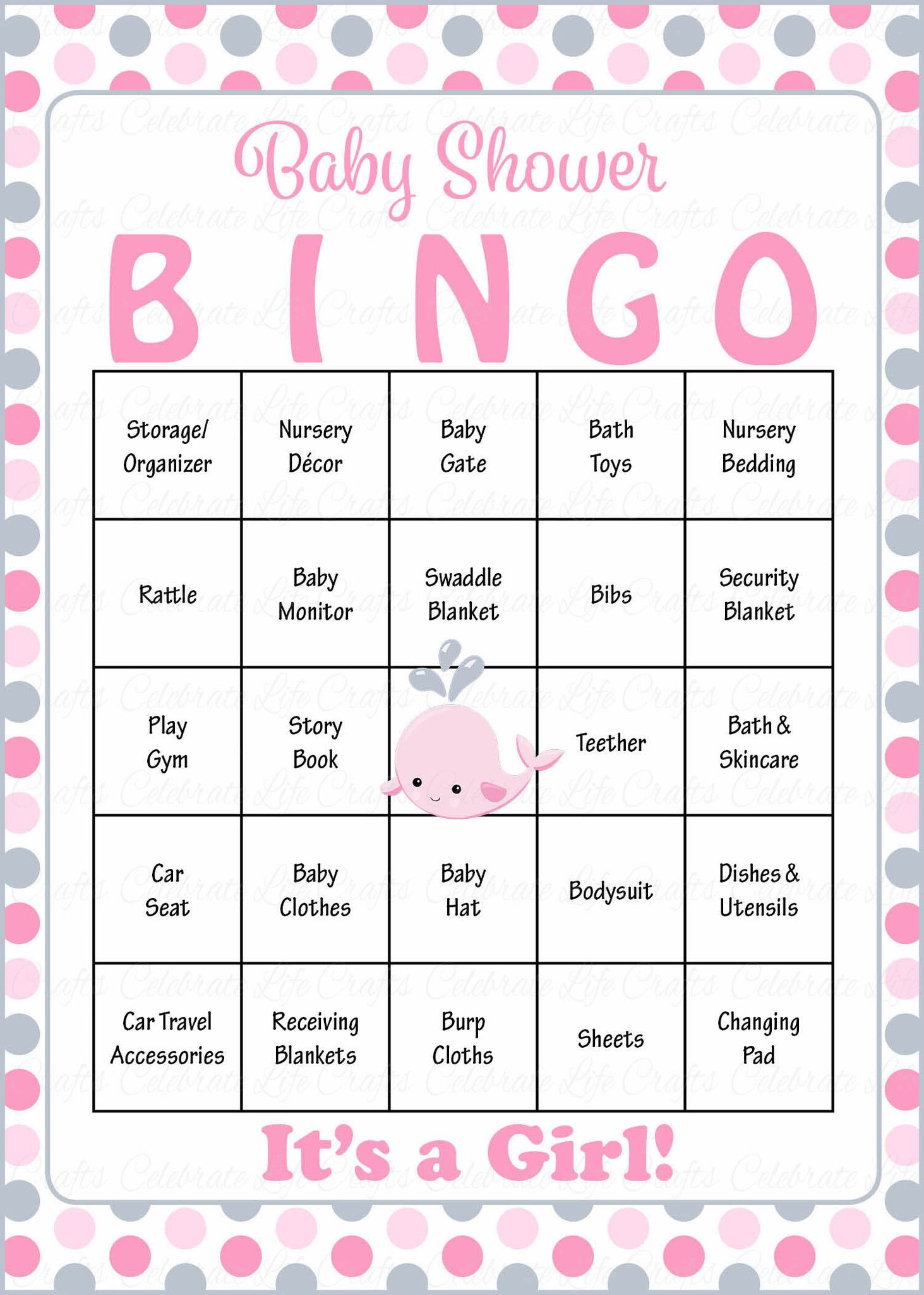 Whale Baby Bingo Cards - Printable Download - Prefilled - Baby ...