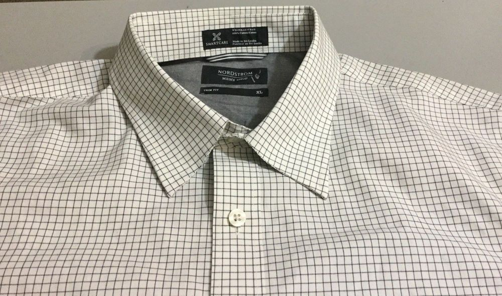 Nwt Nordstrom Trim Fit Checks Smartcare Mens Dress Shirt Off White