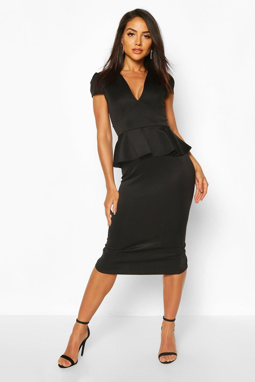 Cap Sleeve Peplum Midi Dress Boohoo Peplum Midi Dress Womens Skirt Outfits Bodycon Fashion [ 1500 x 1000 Pixel ]