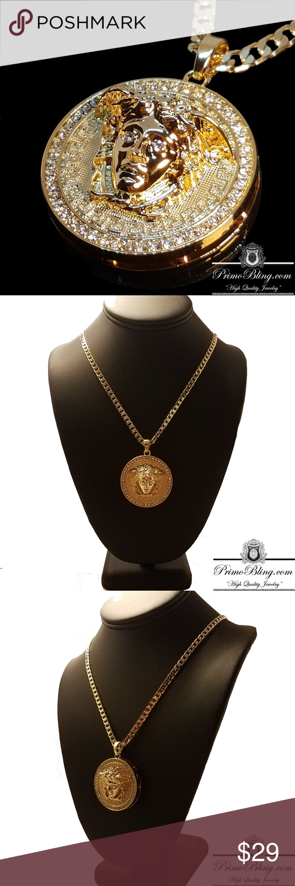 delicate plated bree necklaces garmentory nicaea sale necklace card pamela shop gold rebecca medallion