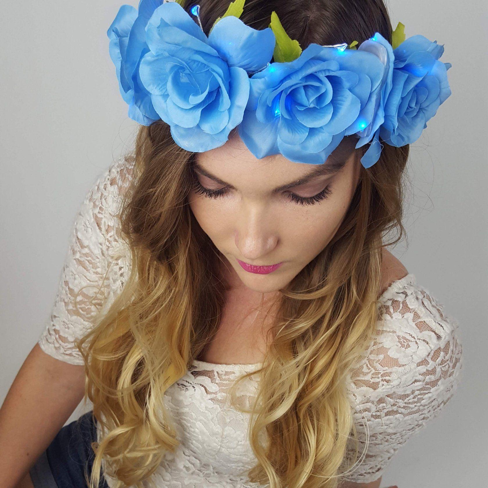 Blue rose light up flower crown led flower crown flower