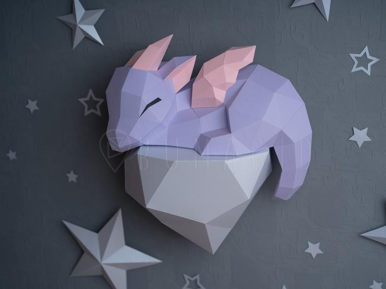 Pdf Template Dragon On A Rock Low Poly Origami Papercraft 3d Paper Sculpture Diy Gift Decor For Home And Office Pattern Handmade Animals In 2020 Paper Crafts Pattern Paper Paper Lantern Owl