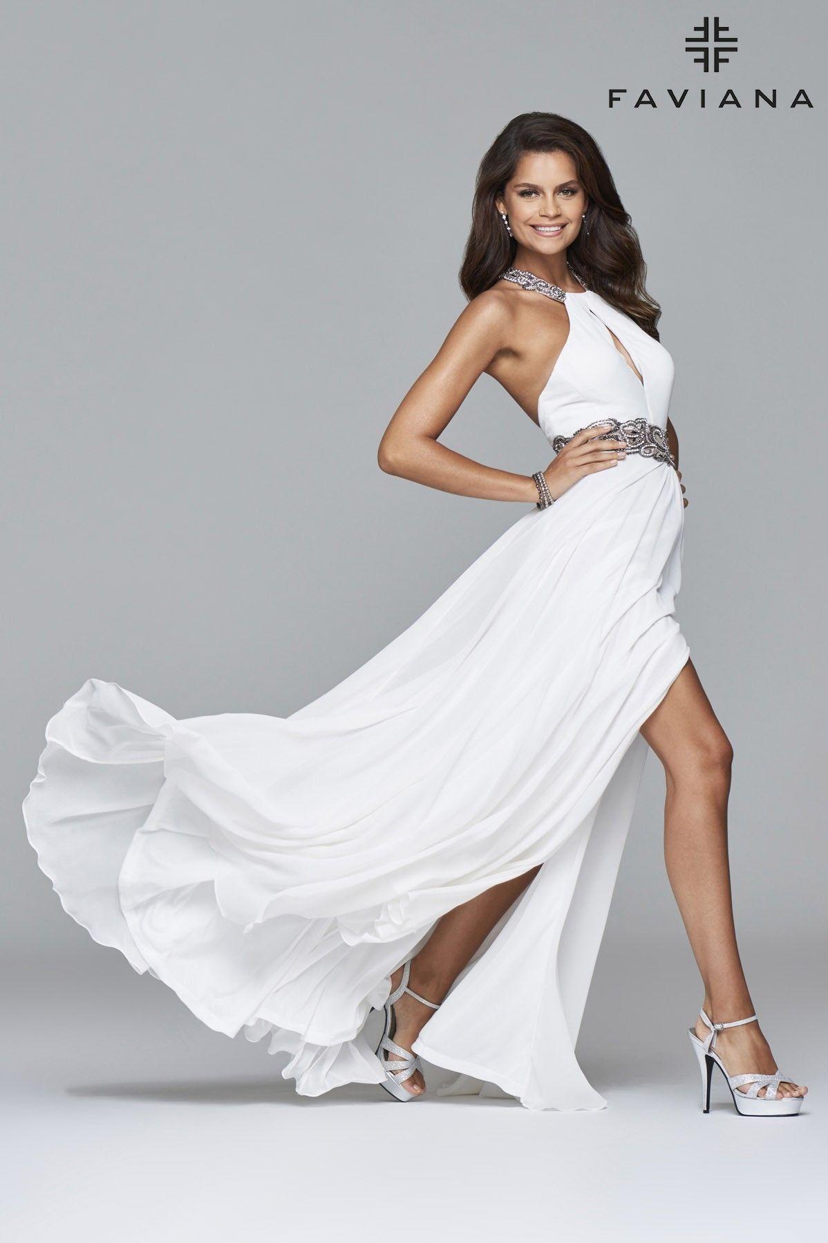 Long chiffon dress with beaded neckband and waistband faviana