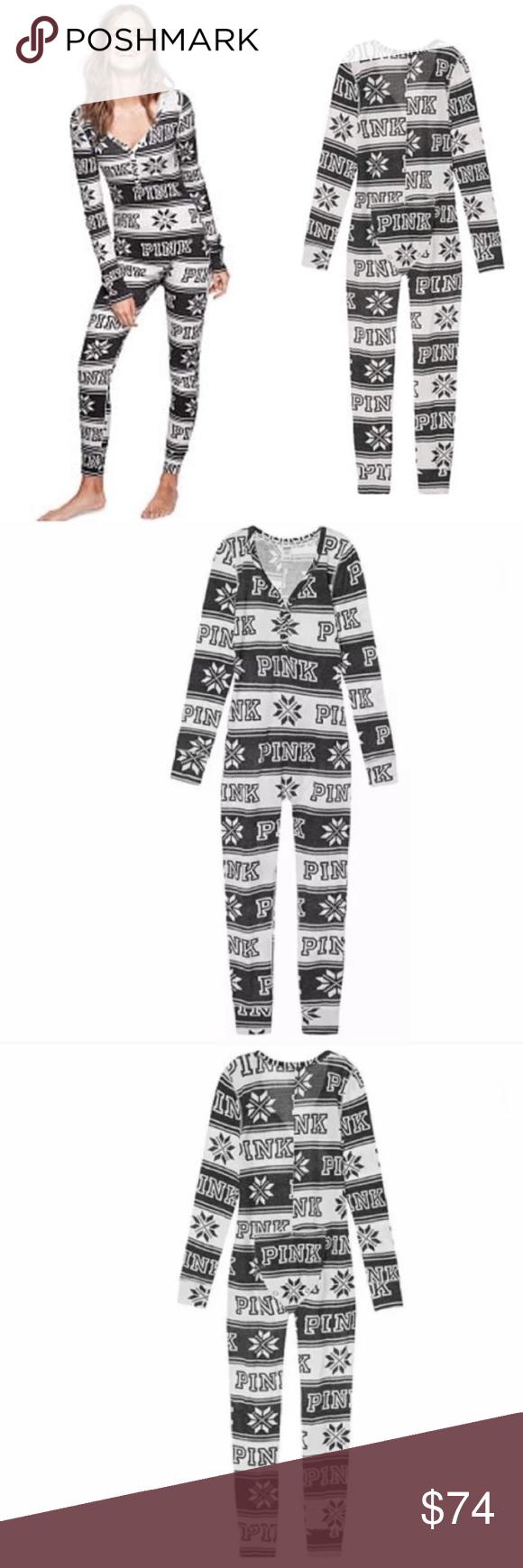 f4de4262bea3c Vs Pink Cozy Holiday Onesie Pajama Thermal Sleep S Vs Victorias ...