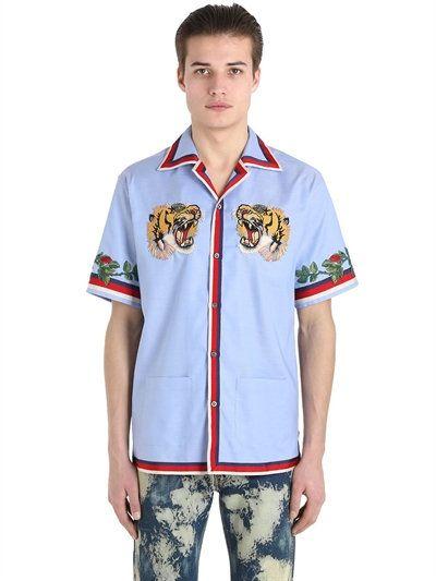 ea3ae1ce GUCCI Tiger Patch Oxford Bowling Shirt, Light Blue. #gucci #cloth #shirts