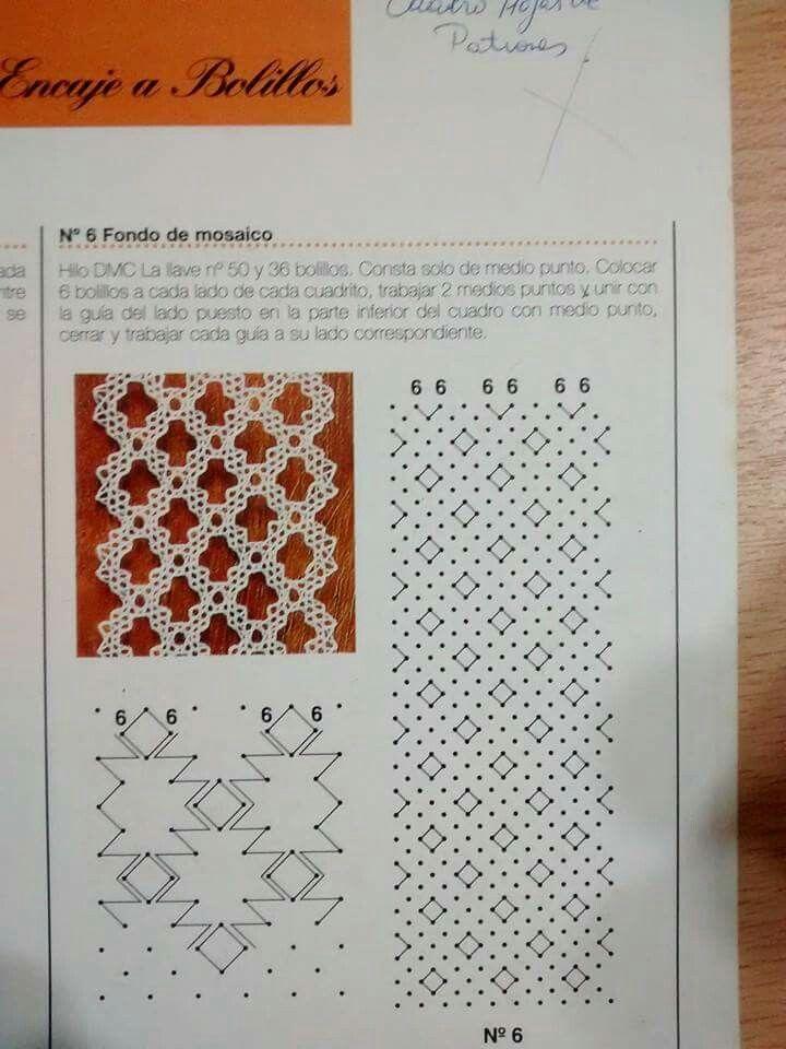 Punto de mosaico   Bolillos   Pinterest   Puntos, Encaje y Encaje de ...