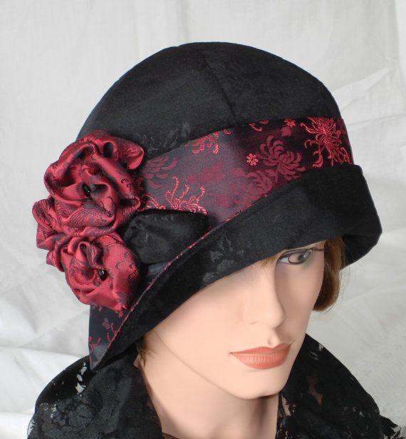 1920s Cloche Hat Flapper Hat 20s Downton Abbey Black Velvet Burgundy ...