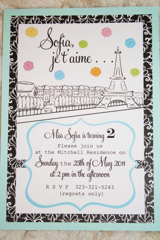 Paris/French Invitations. birthday invites. $9.99, via Etsy ...