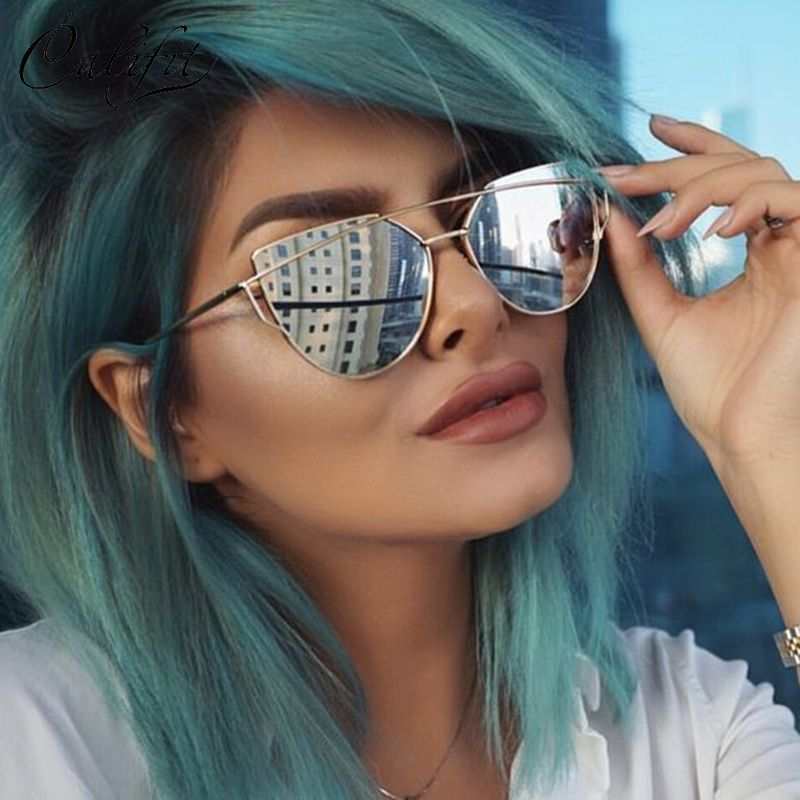 41a2a62a3cf CALIFIT New Classic Cat Eye Sunglasses Ladies Brand Designer Eyewear Unisex  Glasses Men Sunglasses Mirror Shades Oculos UV400