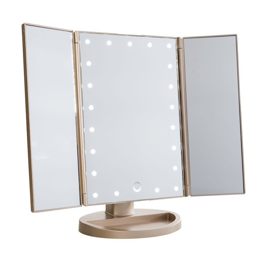 Touch Trifold Dimmable Led Makeup Mirror With Images Led