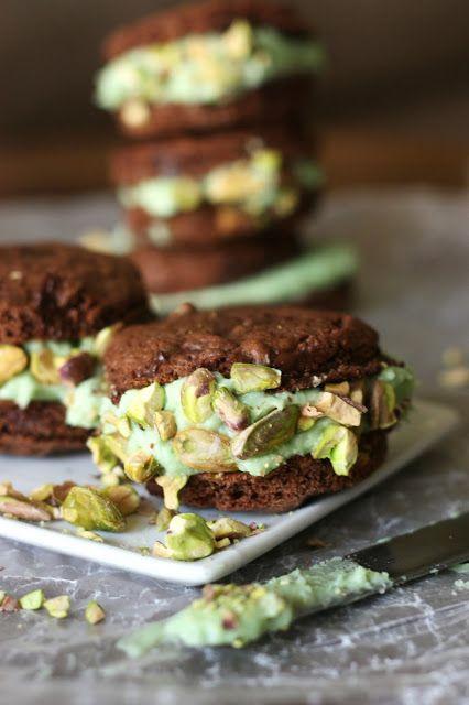 Double Chocolate Pistachio Cream Sandwich Cookies